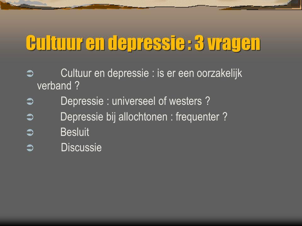Cultuur en depressie : 3 vragen