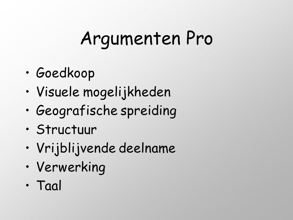 Argumenten Pro Goedkoop Visuele mogelijkheden Geografische spreiding
