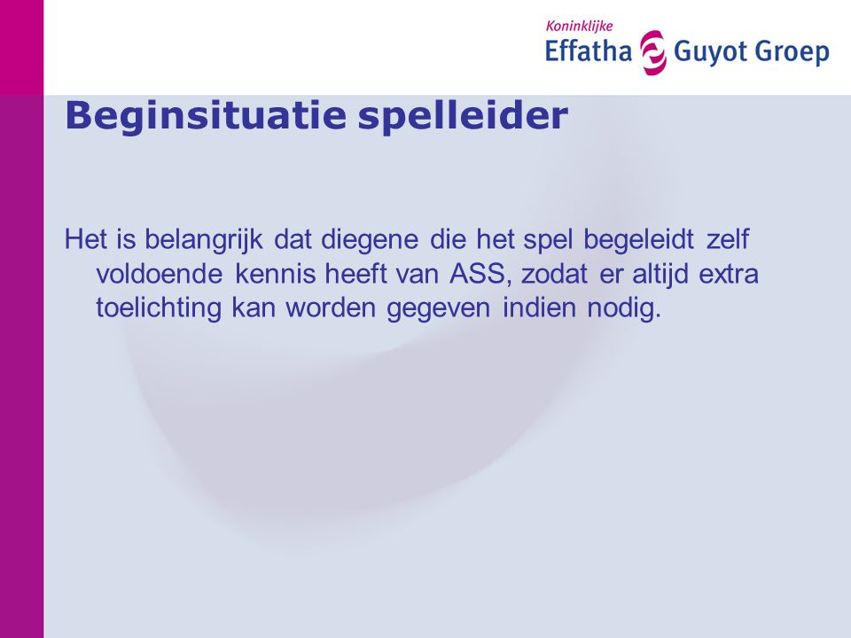 Beginsituatie spelleider