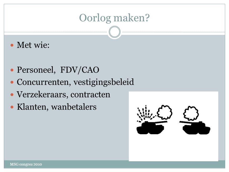 Oorlog maken Met wie: Personeel, FDV/CAO