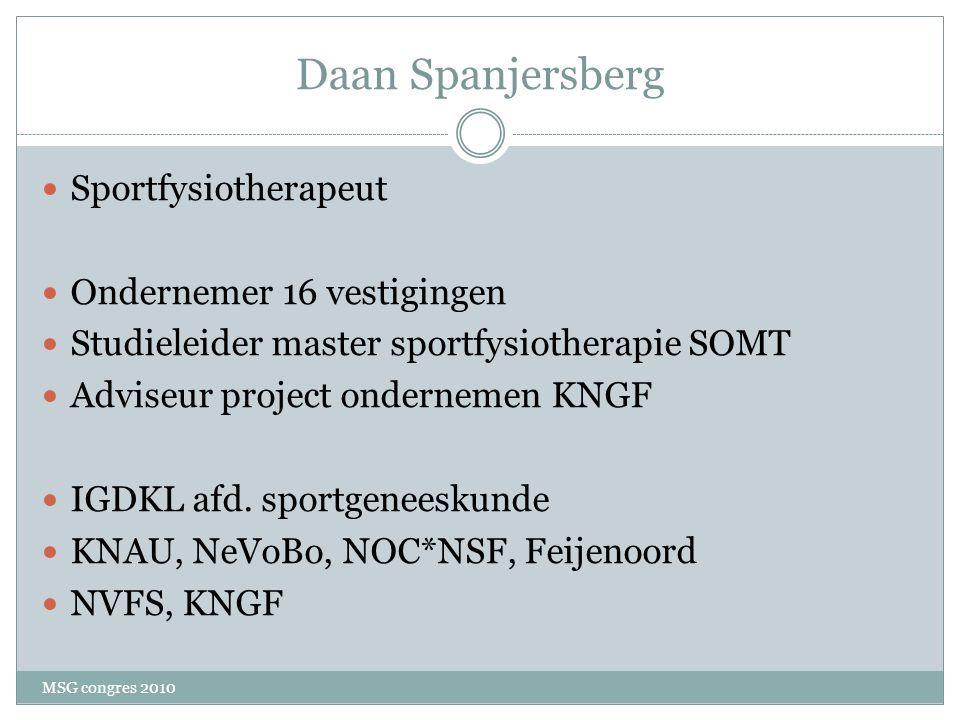 Daan Spanjersberg Sportfysiotherapeut Ondernemer 16 vestigingen