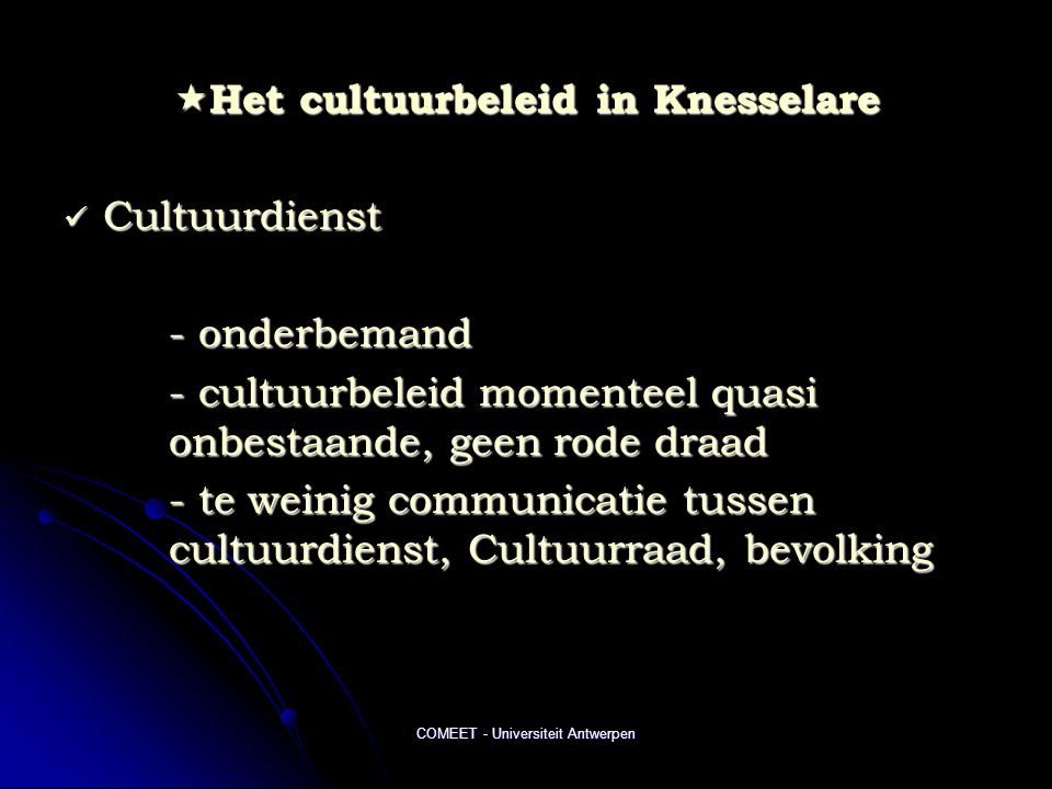 Het cultuurbeleid in Knesselare