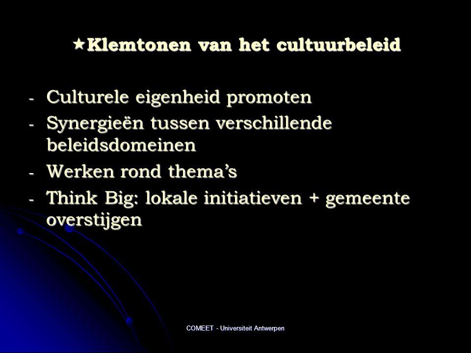 Klemtonen van het cultuurbeleid