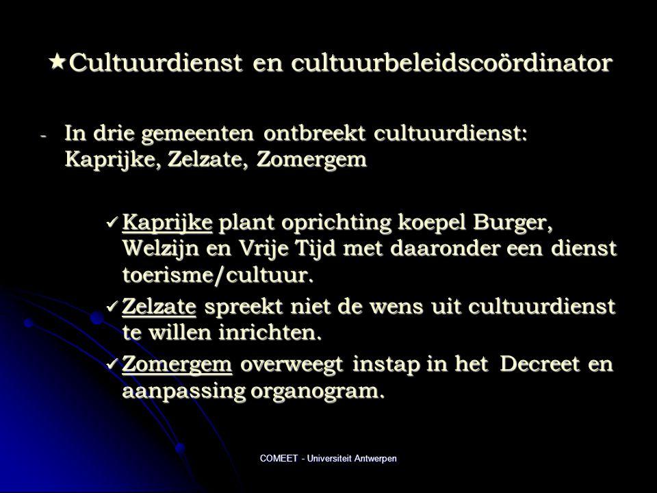 Cultuurdienst en cultuurbeleidscoördinator