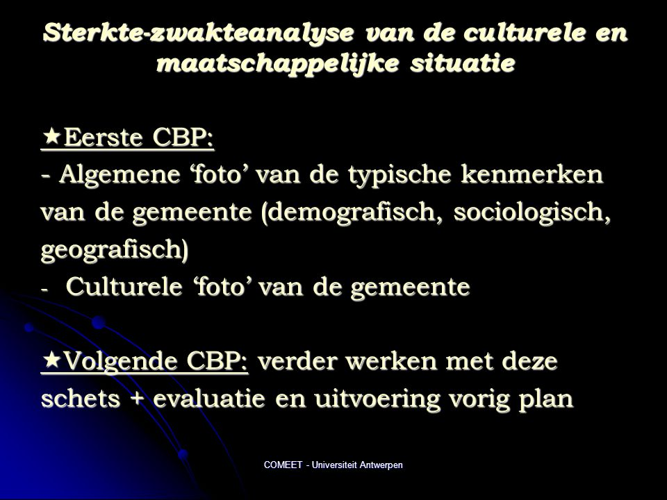 Sterkte-zwakteanalyse van de culturele en maatschappelijke situatie