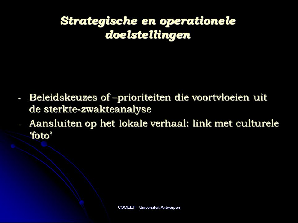 Strategische en operationele doelstellingen