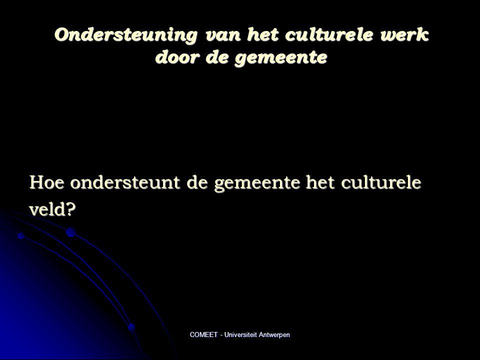 Ondersteuning van het culturele werk door de gemeente