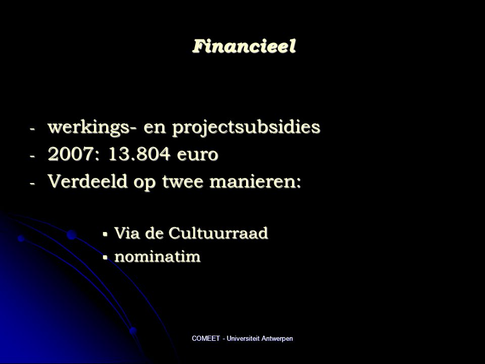 COMEET - Universiteit Antwerpen