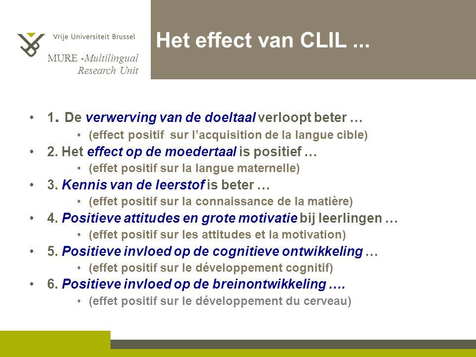 Het effect van CLIL ... 1. De verwerving van de doeltaal verloopt beter … (effect positif sur l'acquisition de la langue cible)