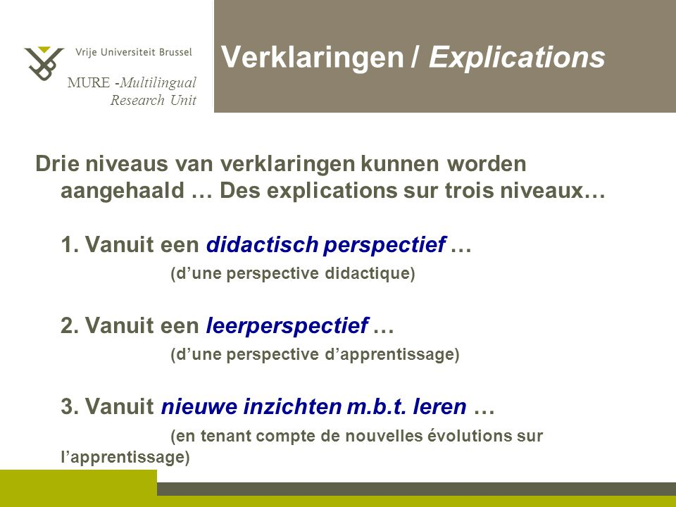 Verklaringen / Explications