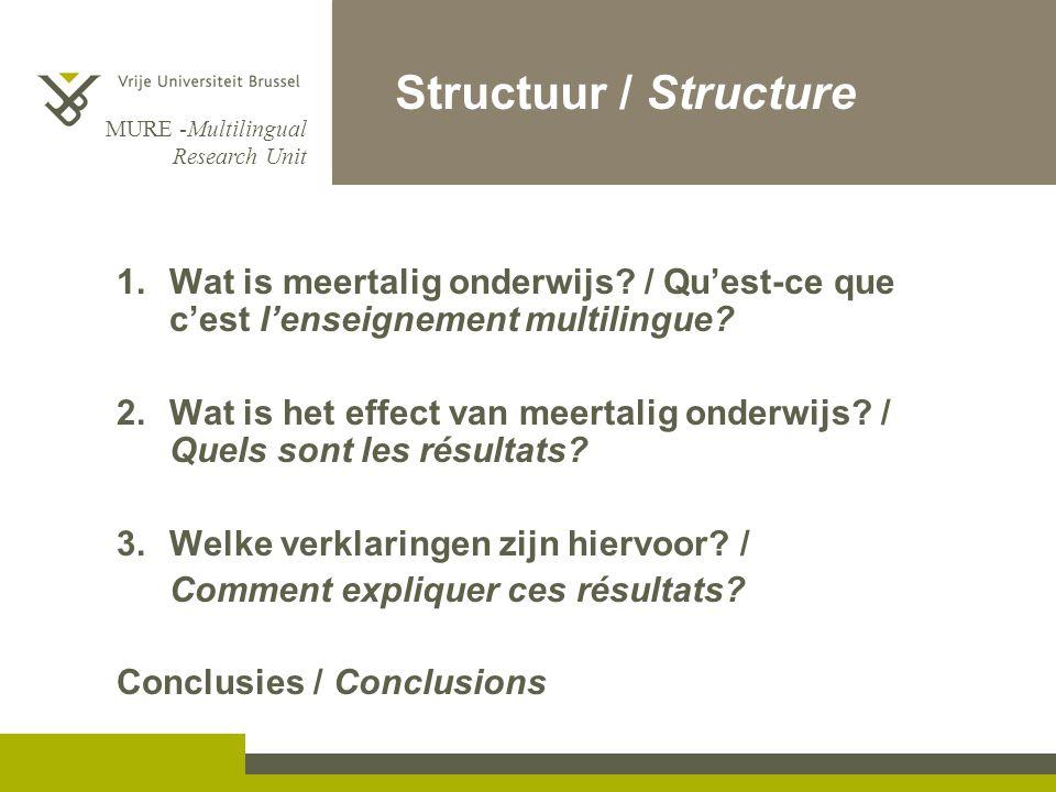 Structuur / Structure Wat is meertalig onderwijs / Qu'est-ce que c'est l'enseignement multilingue