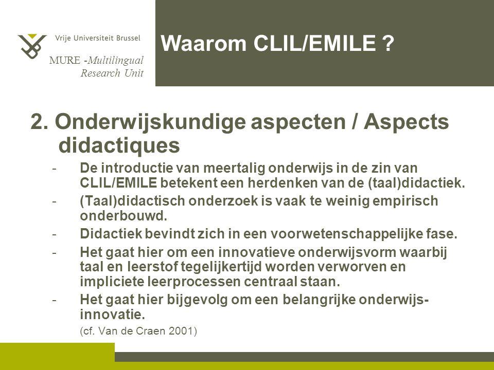 2. Onderwijskundige aspecten / Aspects didactiques