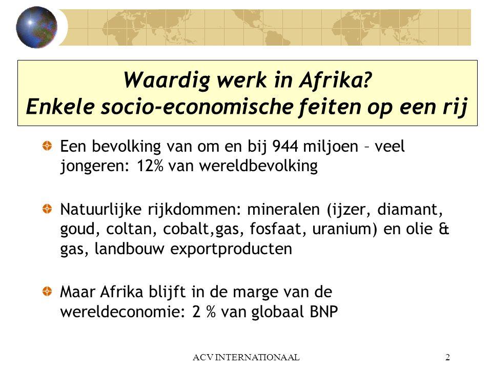 Waardig werk in Afrika Enkele socio-economische feiten op een rij