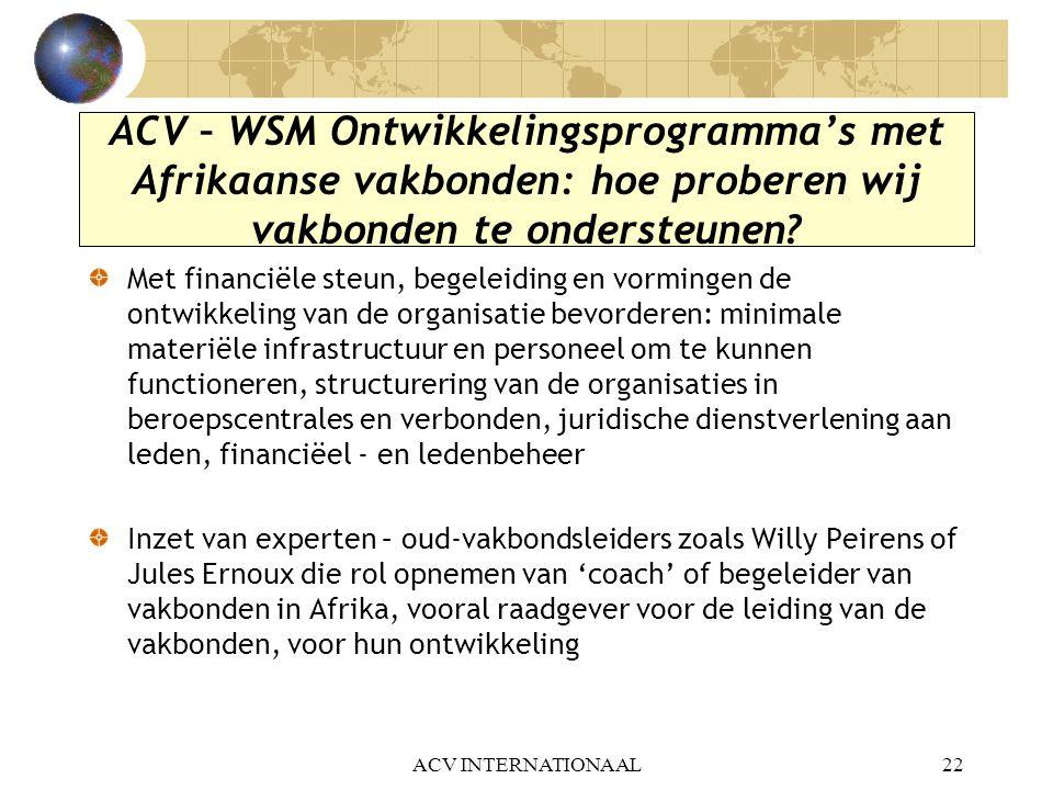 ACV – WSM Ontwikkelingsprogramma's met Afrikaanse vakbonden: hoe proberen wij vakbonden te ondersteunen