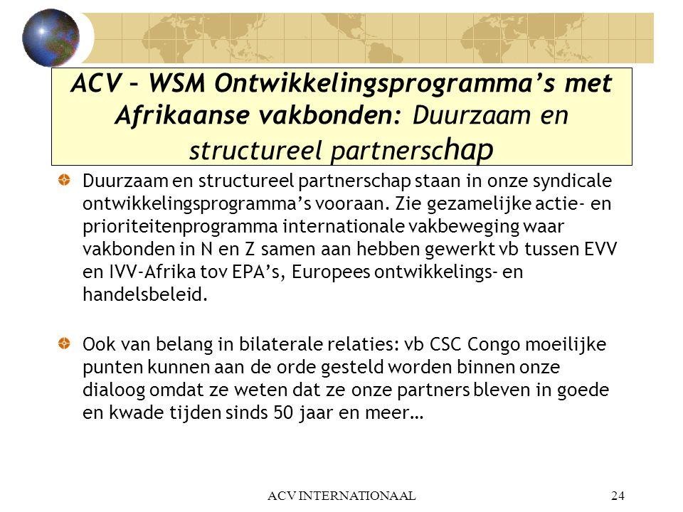 ACV – WSM Ontwikkelingsprogramma's met Afrikaanse vakbonden: Duurzaam en structureel partnerschap