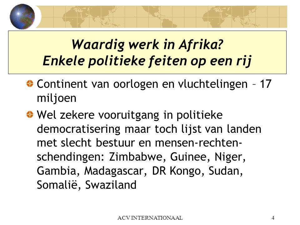 Waardig werk in Afrika Enkele politieke feiten op een rij