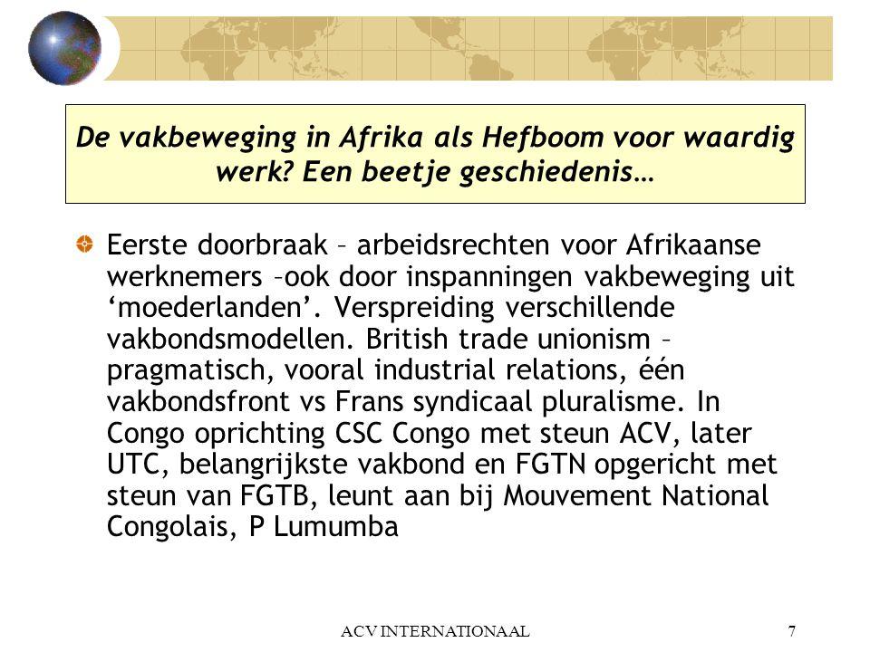 De vakbeweging in Afrika als Hefboom voor waardig werk