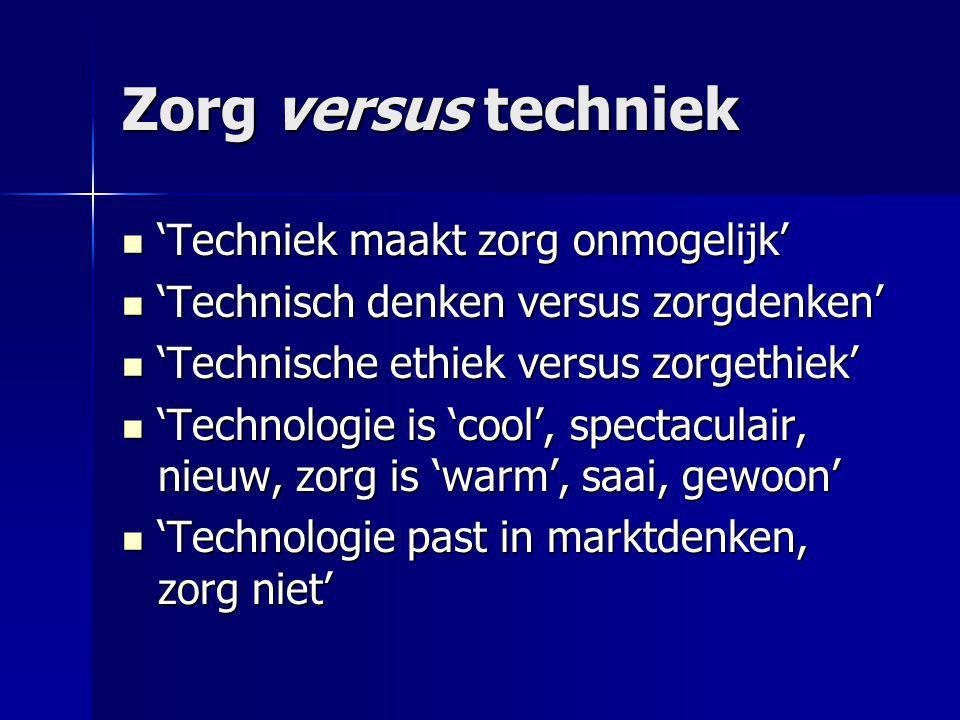 Zorg versus techniek 'Techniek maakt zorg onmogelijk'