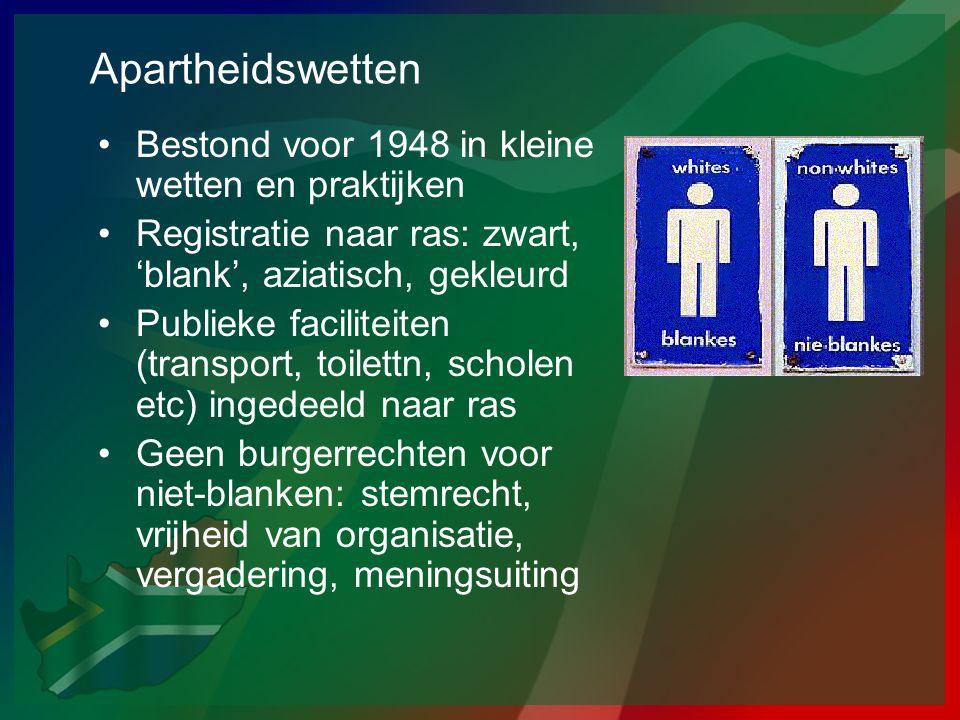 Apartheidswetten Bestond voor 1948 in kleine wetten en praktijken