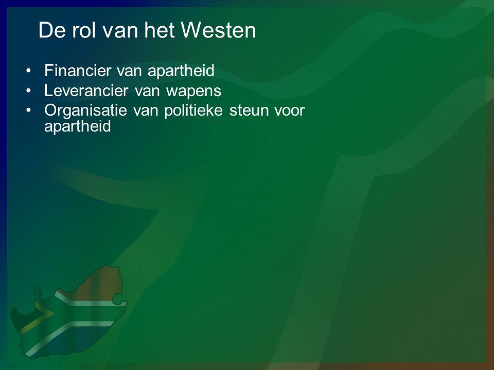 De rol van het Westen Financier van apartheid Leverancier van wapens