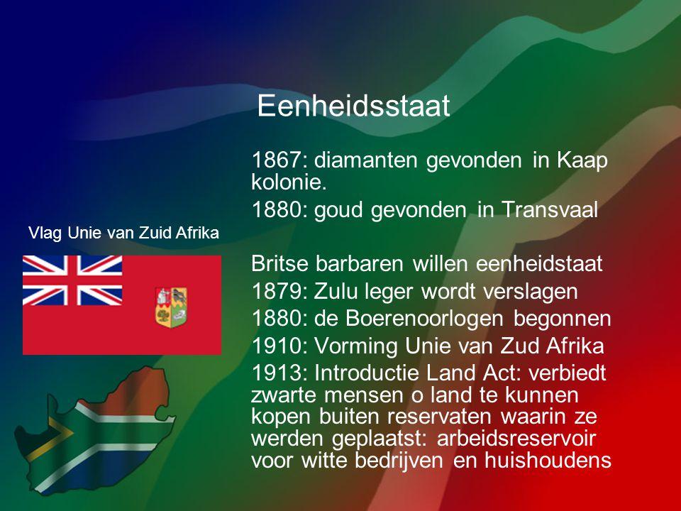 Eenheidsstaat 1867: diamanten gevonden in Kaap kolonie.