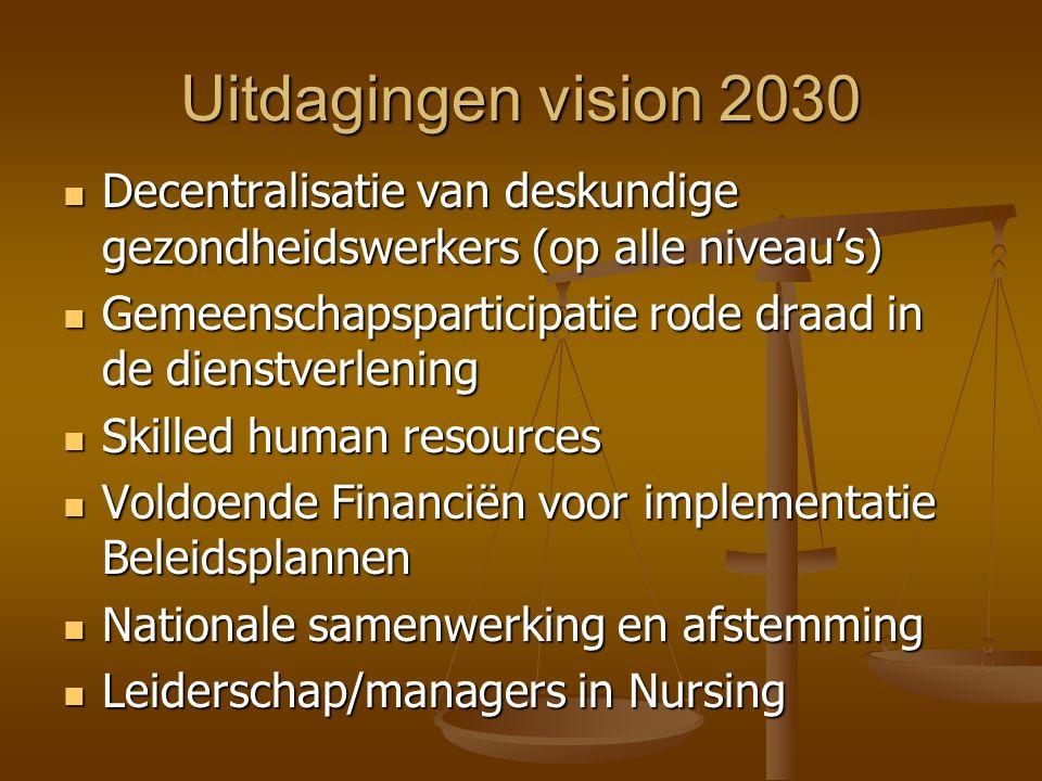 Uitdagingen vision 2030 Decentralisatie van deskundige gezondheidswerkers (op alle niveau's)
