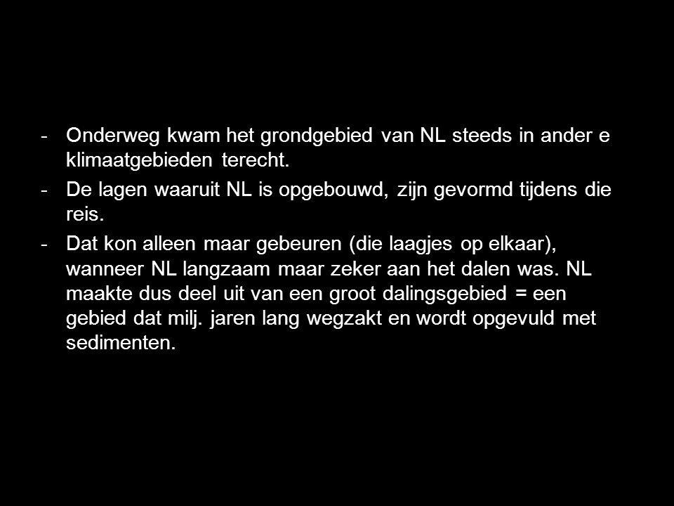 Onderweg kwam het grondgebied van NL steeds in ander e klimaatgebieden terecht.