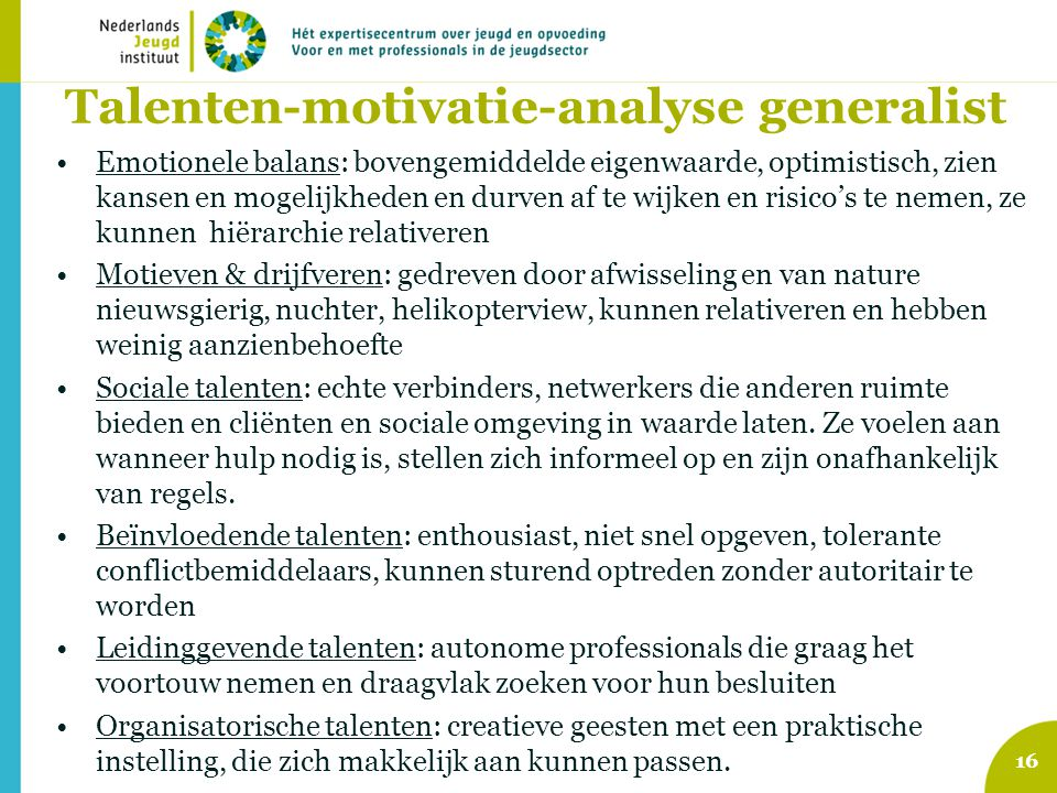 Talenten-motivatie-analyse generalist