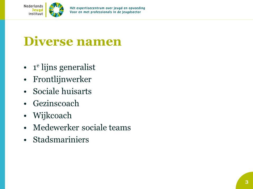 Diverse namen 1e lijns generalist Frontlijnwerker Sociale huisarts