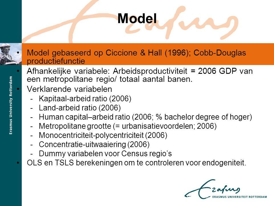 Model Model gebaseerd op Ciccione & Hall (1996); Cobb-Douglas productiefunctie.