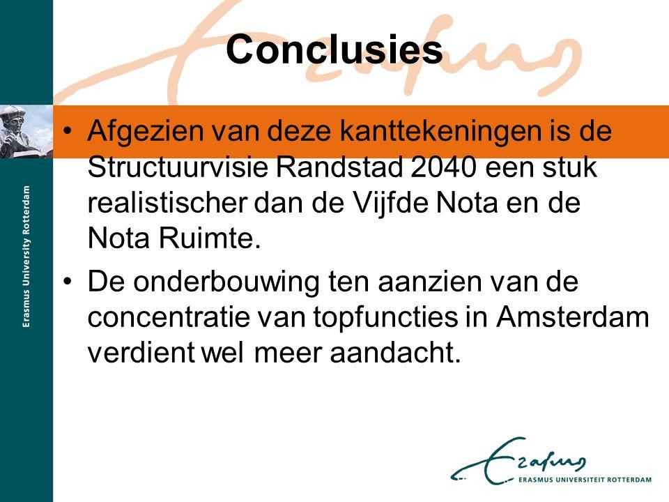 Conclusies Afgezien van deze kanttekeningen is de Structuurvisie Randstad 2040 een stuk realistischer dan de Vijfde Nota en de Nota Ruimte.