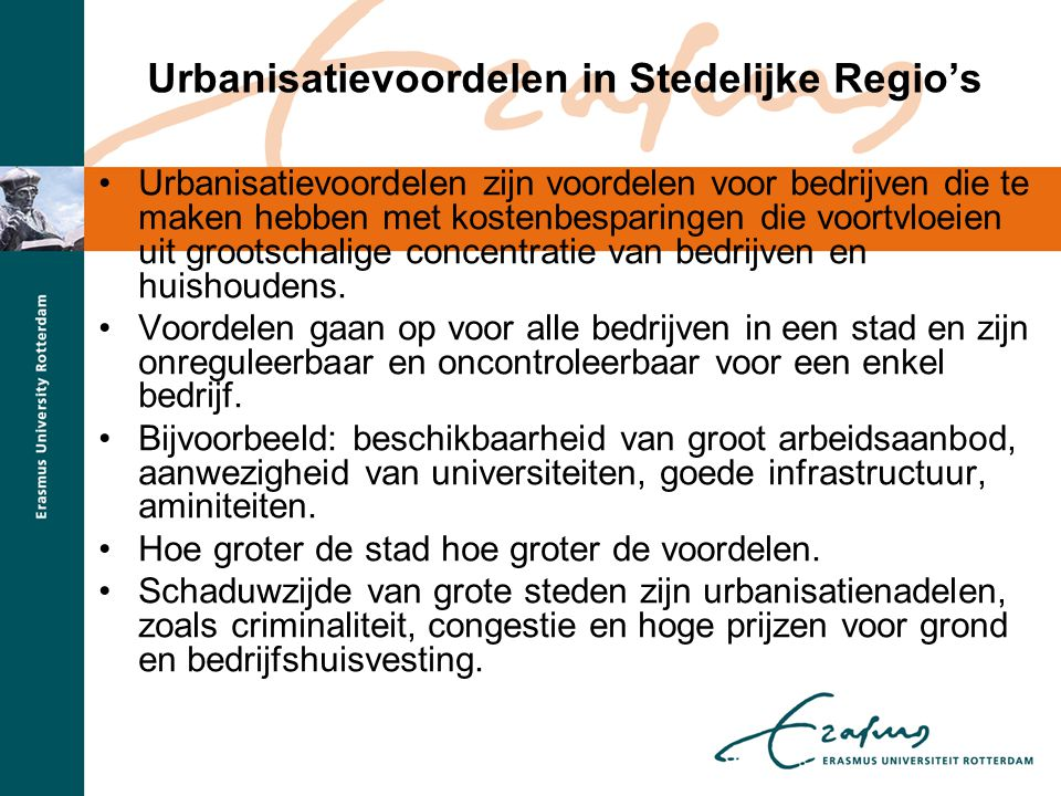Urbanisatievoordelen in Stedelijke Regio's