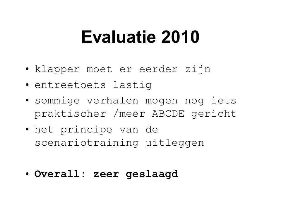 Evaluatie 2010 klapper moet er eerder zijn entreetoets lastig
