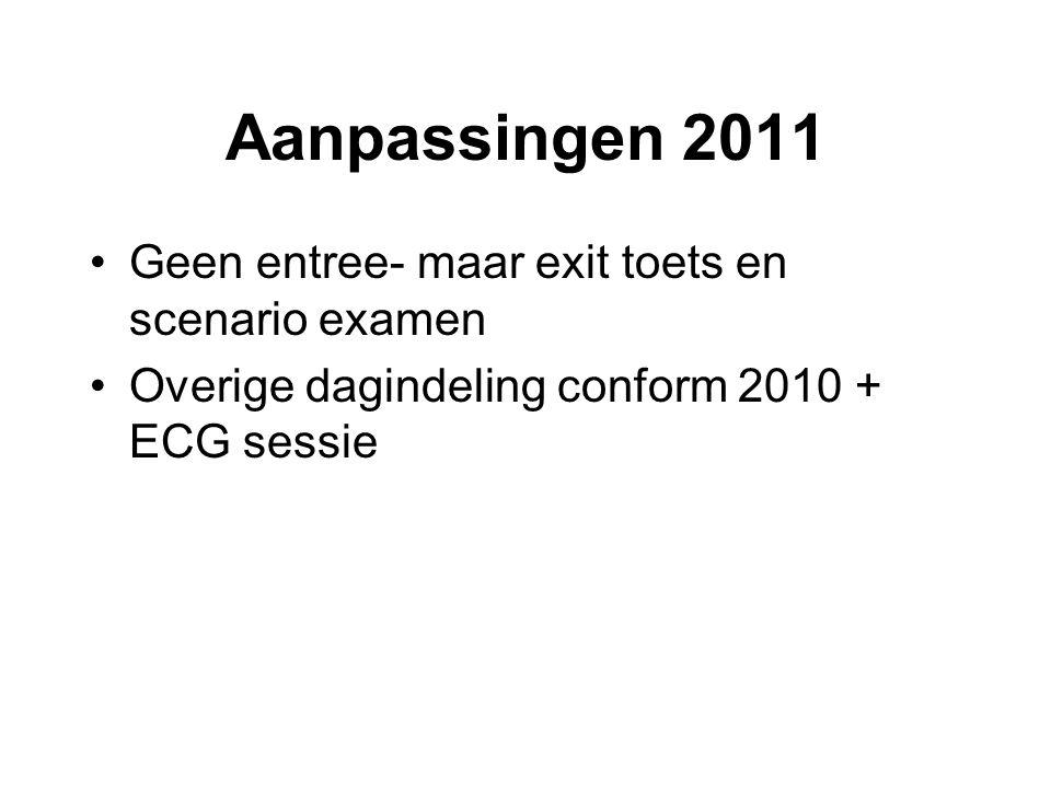 Aanpassingen 2011 Geen entree- maar exit toets en scenario examen