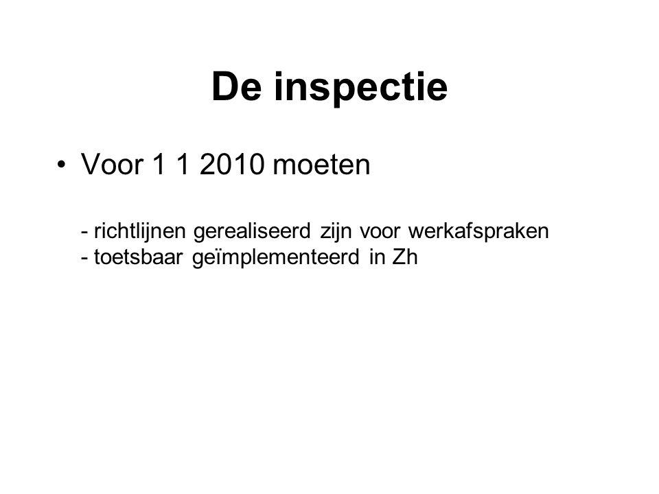 De inspectie Voor 1 1 2010 moeten - richtlijnen gerealiseerd zijn voor werkafspraken - toetsbaar geïmplementeerd in Zh.