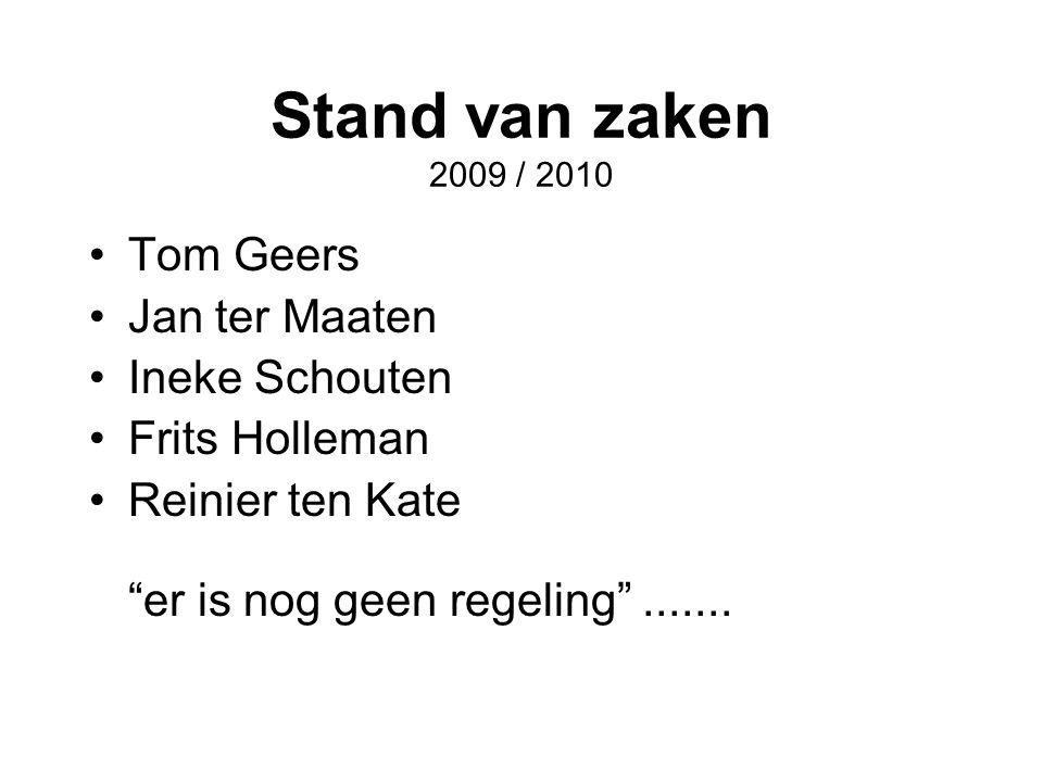 Stand van zaken 2009 / 2010 Tom Geers Jan ter Maaten Ineke Schouten