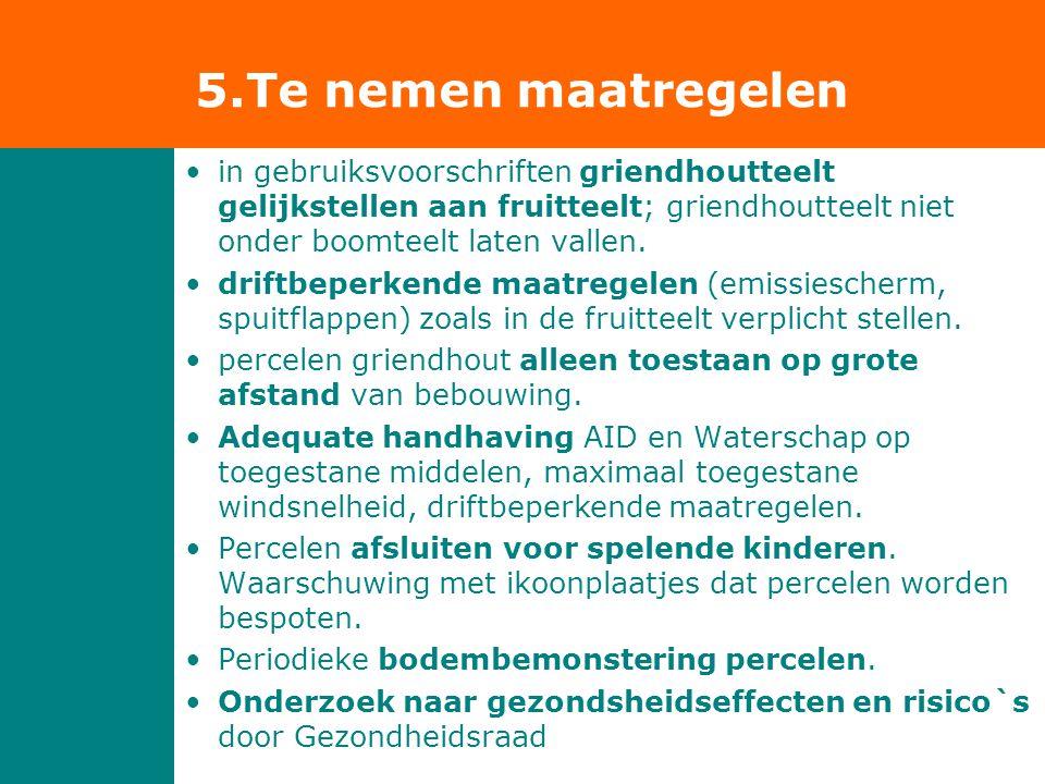 5.Te nemen maatregelen in gebruiksvoorschriften griendhoutteelt gelijkstellen aan fruitteelt; griendhoutteelt niet onder boomteelt laten vallen.