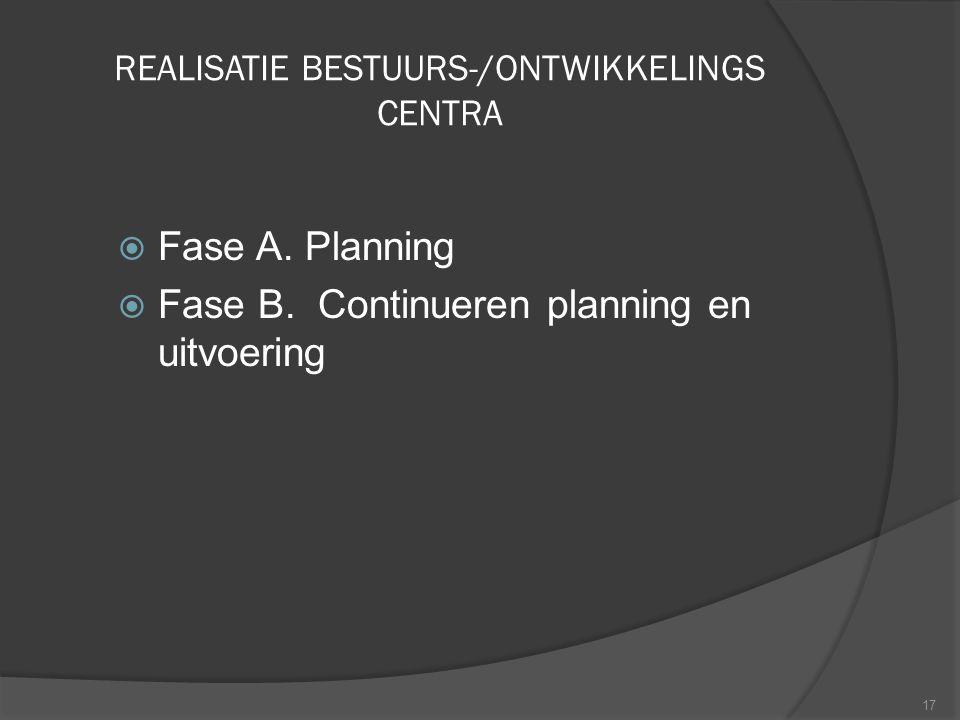 REALISATIE BESTUURS-/ONTWIKKELINGS CENTRA
