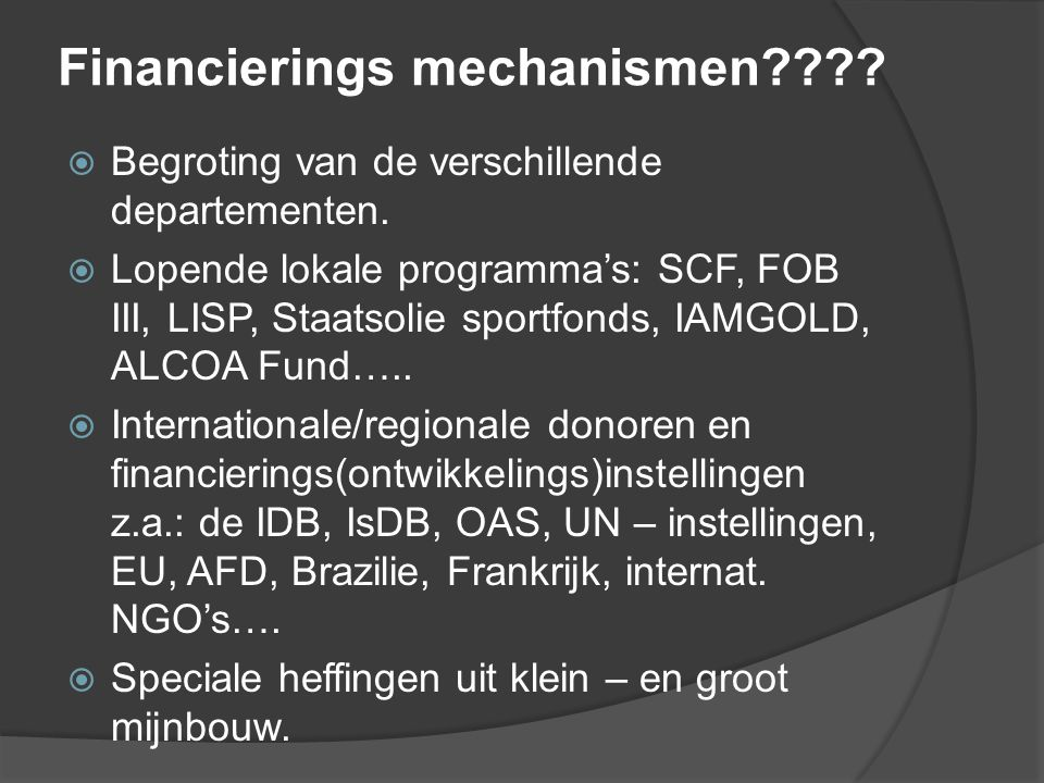 Financierings mechanismen