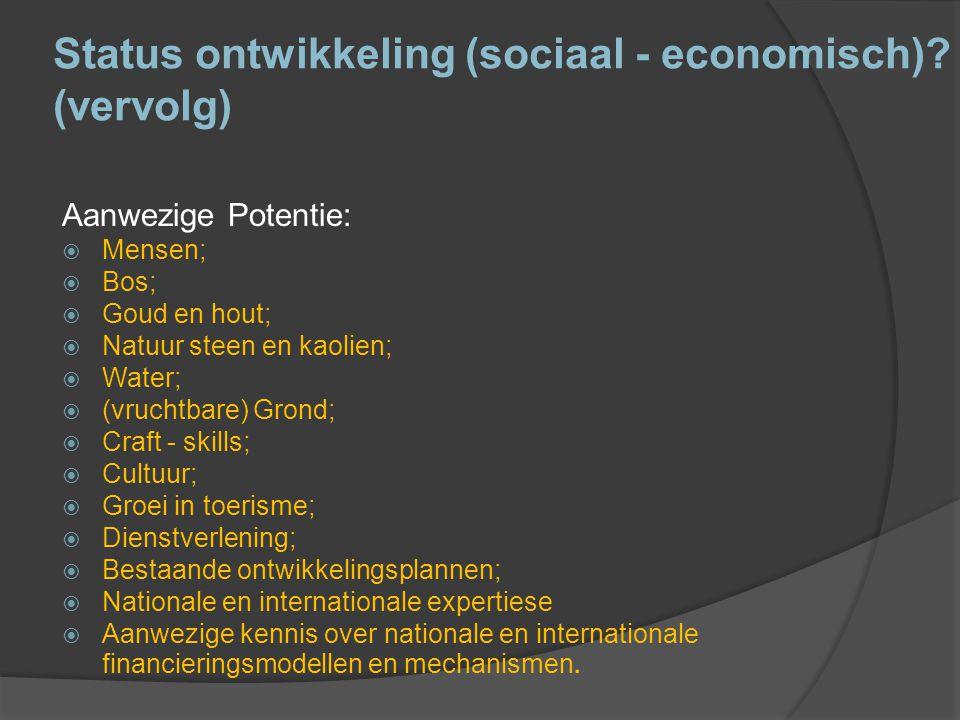 Status ontwikkeling (sociaal - economisch) (vervolg)