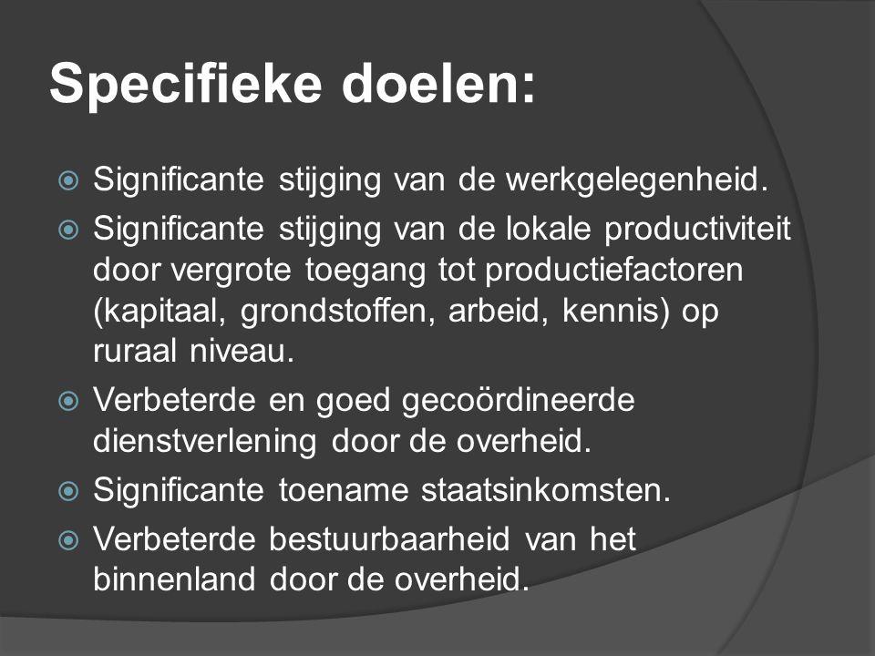 Specifieke doelen: Significante stijging van de werkgelegenheid.