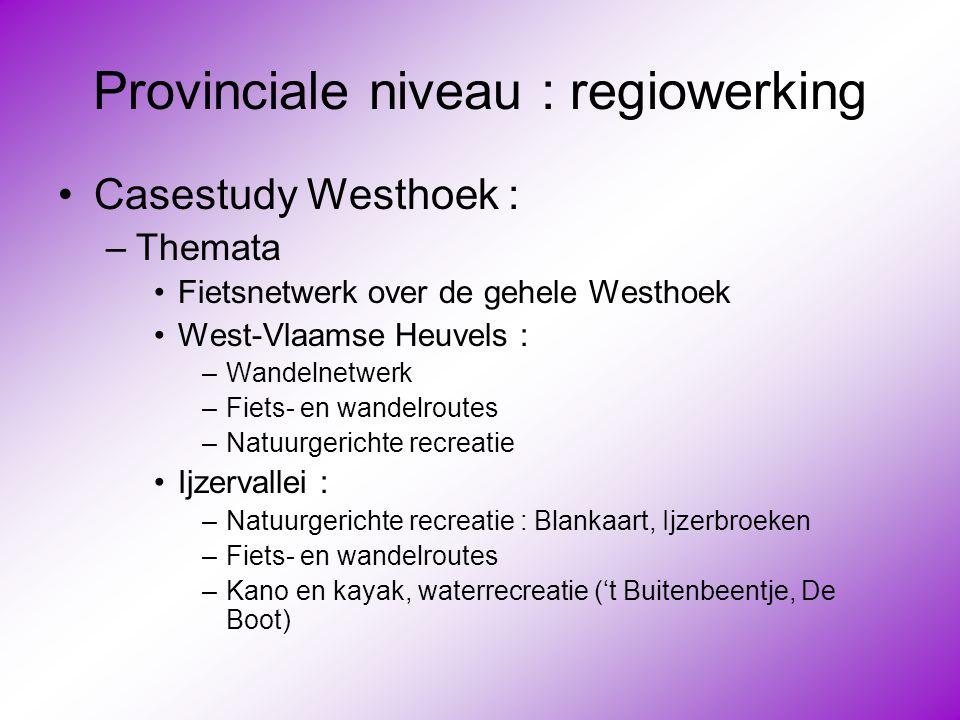 Provinciale niveau : regiowerking