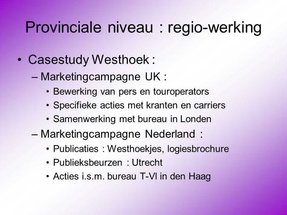 Provinciale niveau : regio-werking