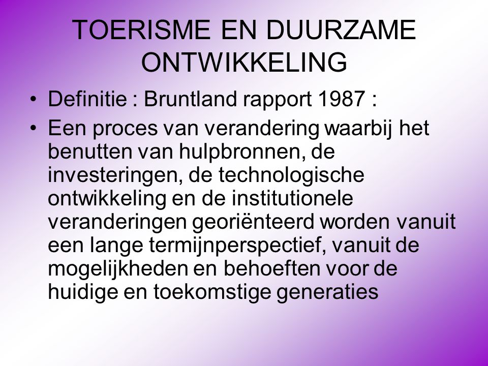 TOERISME EN DUURZAME ONTWIKKELING