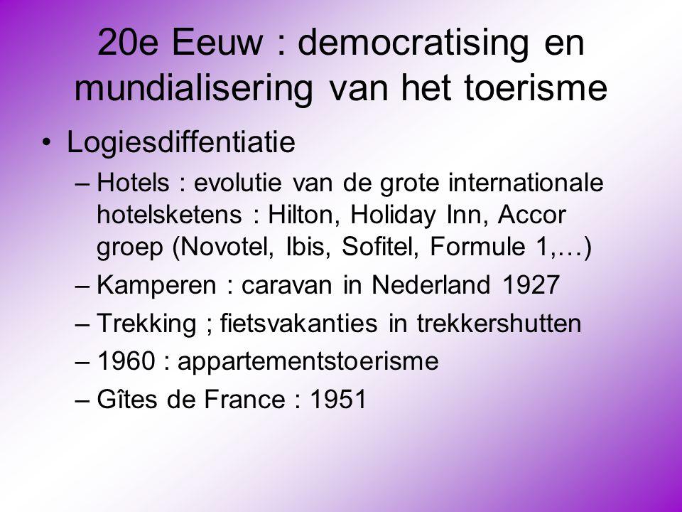20e Eeuw : democratising en mundialisering van het toerisme