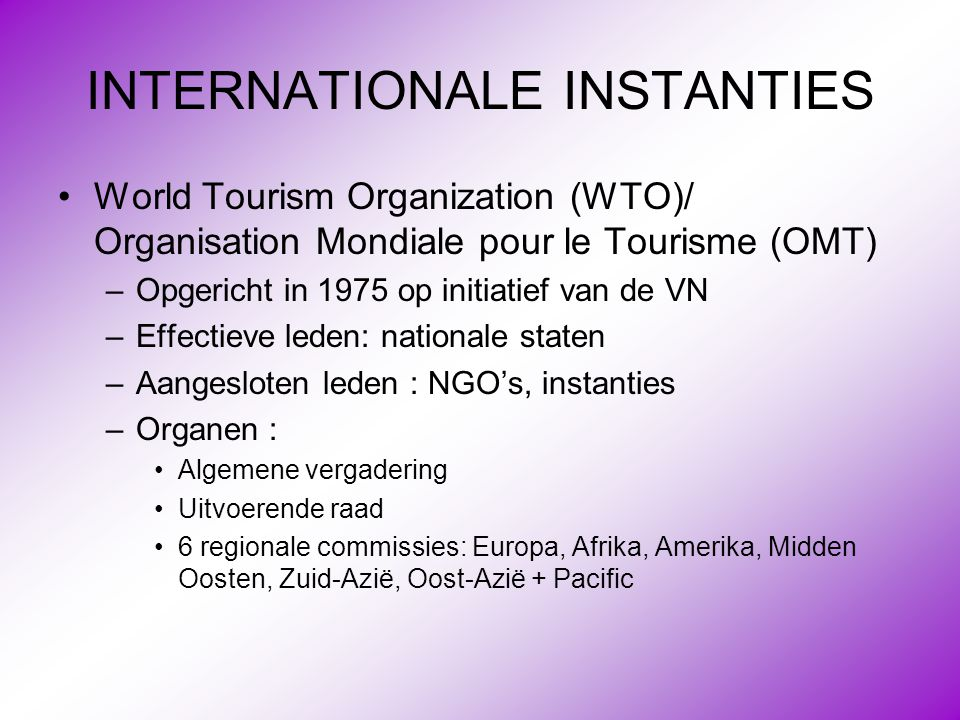 INTERNATIONALE INSTANTIES