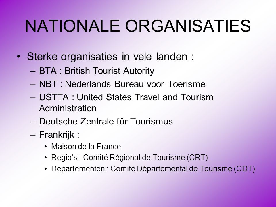 NATIONALE ORGANISATIES