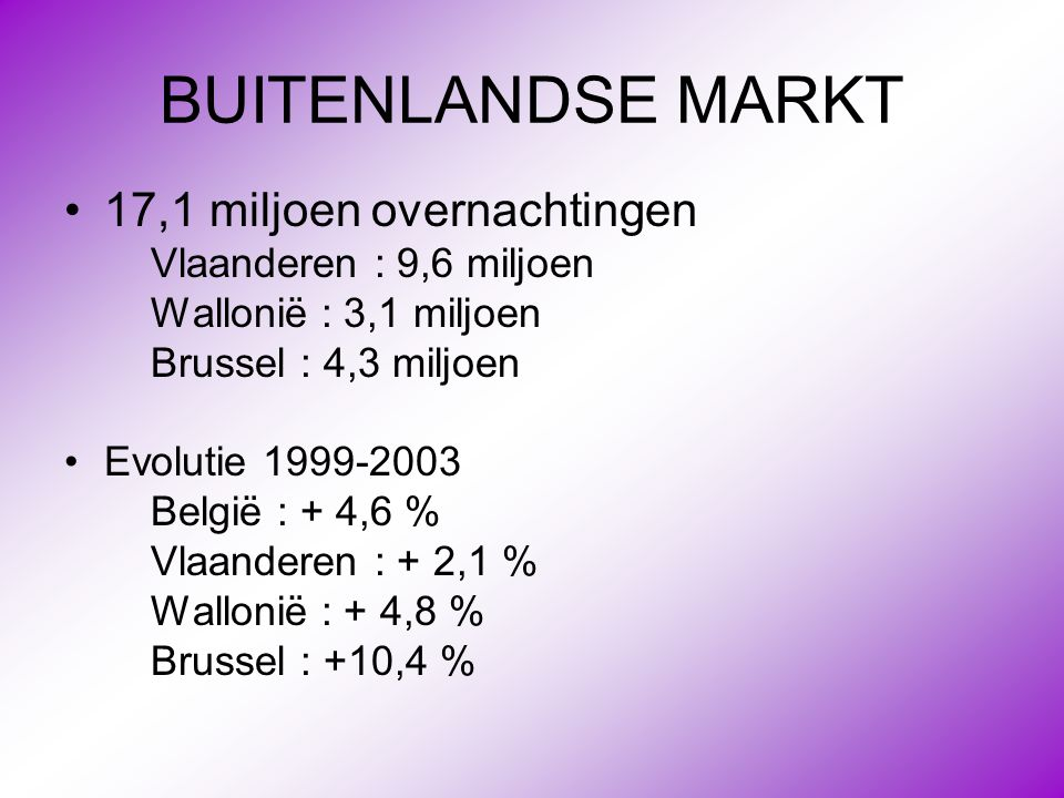 BUITENLANDSE MARKT 17,1 miljoen overnachtingen