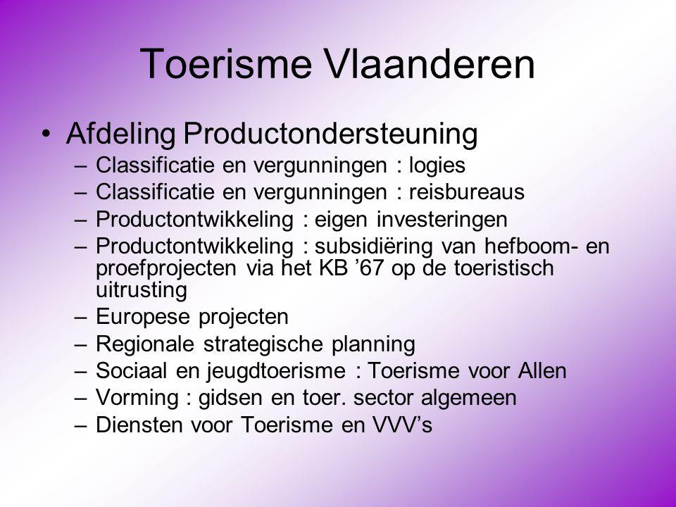 Toerisme Vlaanderen Afdeling Productondersteuning