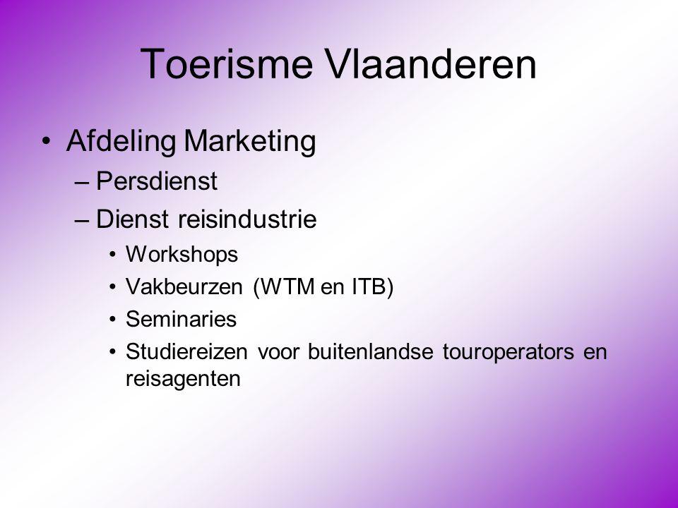 Toerisme Vlaanderen Afdeling Marketing Persdienst Dienst reisindustrie